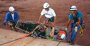Rock Rescuers in Training on Side of Rock