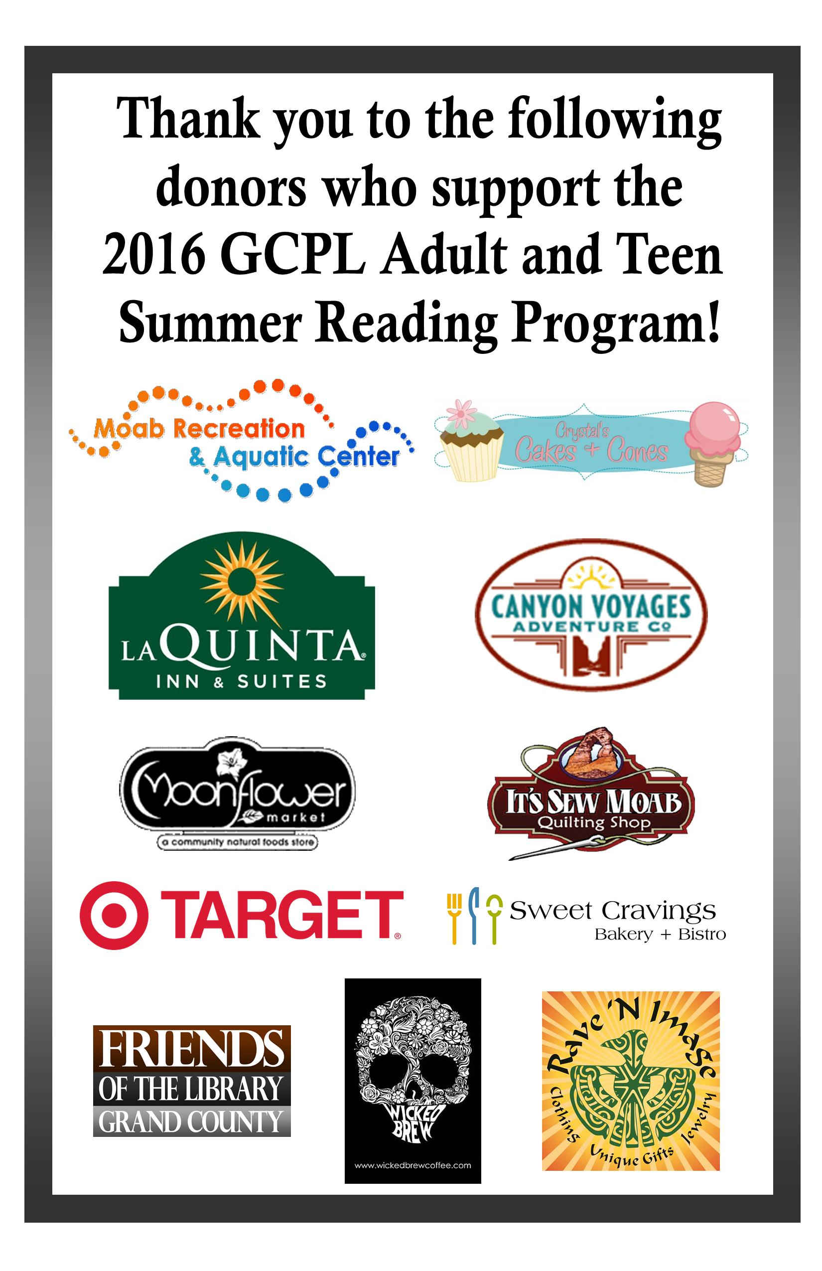 2016 Adult and Teen SRP sponsors