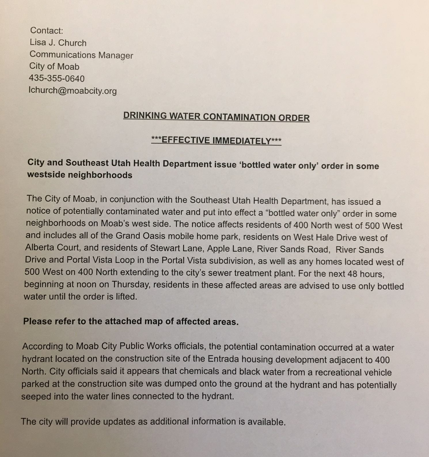 MOAB- Drinking Water Contamination Order