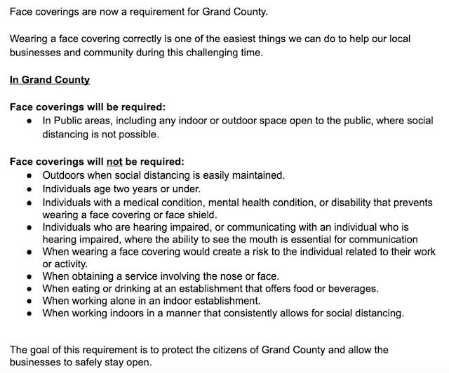 Grand County Face Covering Requirements