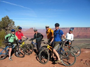 Group of Riders on Porcupine Rim Bike Trail