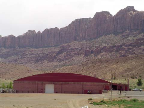 View of Arena with Mountains in Back